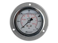 """1/4"""" manometer. Studs bagud med frontring. Skala 0-600 bar"""