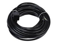DIN-stik 3pol+jord støbt/med15 mtr. kabel 12/24/230V AC/DC