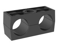 Rörklammerpar, standard serie, dubbel, Polypropylen, svart, slät - DSLK-PPH - DIN3015-3