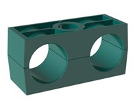 Rörklammerpar, standard serie, dubbel, Polypropylen, grön, slät - DSLK-PPHG - DIN3015-3