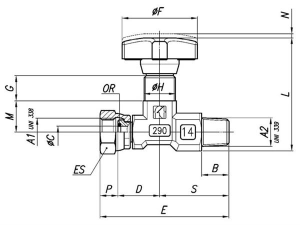 Basınç ölçme valfi, Tognella 1/4 basınç göstergesi x 1/4 erkek