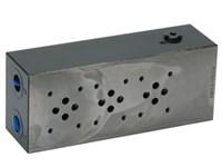 "Bundplade stål for 3 x Cetop3 A+B 3/8"", P+T 1/2"""