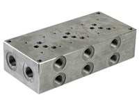 """Blok for 3 x cetop 5, stål A+B 1/2"""" side, P+T 3/4"""" ende"""