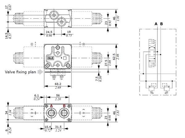 """SDE030-060/P std 3/8"""" sekt kit for sekundær trykbeg.ventil"""