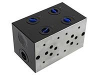 Bundplade stål for 2 x Cetop3 med Cavity 10/2