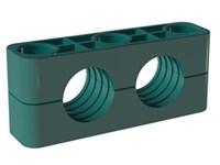 Rörklammerpar, tung serie, dubbel, Polypropylen, grön, profilerad - DTSLK-PPG